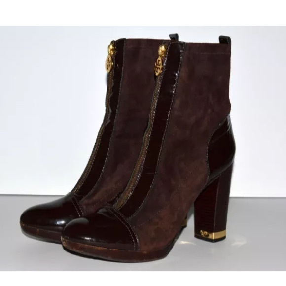 45ef8091e4d440 Tory Burch 9 Danielle Brown Zip Front Ankle Boots.  M 5a56c2cb46aa7cf41600d280